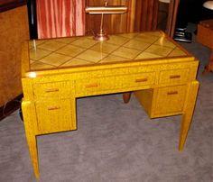 Desk art deco yellow walnut colour