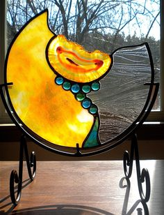 'Amber Sunrise' Stained Glass Mandala with Geode and Glass Nuggets by Jannie Ledard Glass Art