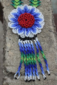 Huichol Peyote Beaded Necklace 10 by HuicholArte