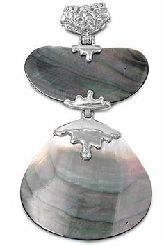 Rhodium Plated Brass Pendant with Hinged Shells - Size: 82mm Pendants - Fashion Jewelry. $22.95