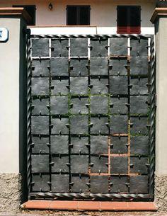 This is an interesting look. Metal Gates, Iron Gates, Iron Doors, Wood And Metal, Metal Art, Door Gate Design, Metal Welding, Iron Art, Funky Furniture