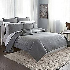 image of DKNY® City Line Duvet Cover in Grey