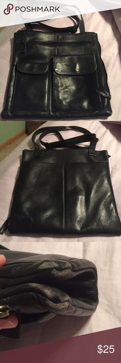 Leather Crossbody Bag Hobo International Crossbody bag.Side and front zipper pockets,Wear on the corners they need to be polished and a couple spots on front pocket as shown in pic.Still great for a busy shopping day. HOBO Bags Crossbody Bags
