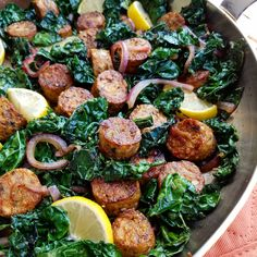 Cleanfoodcrush Lemon Pepper Chicken Sausage and Kale Stir Fry