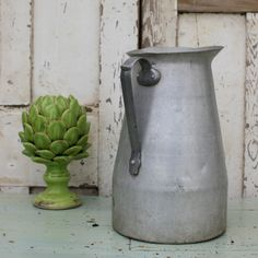 Extra Large French Aluminium Milk Jug or Pitcher by Restored2bloved on Etsy