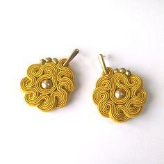 Old GoldSoutache Earrings Statement Jewelery by Lolissa on Etsy