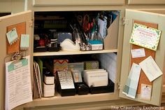 Turn a kitchen cabinet into mini-office to hide the clutter {The Creativity Exchange}