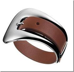 Hermes Silver & Leather Bracelet @ http://baglissimo.weebly.com/