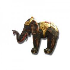 Elefante indio en madera policromada