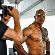 Dwayne Johnson on set filming the Baywatch Movie.