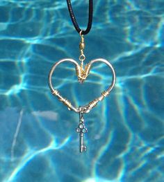 FISH HOOK HEART Necklace with Key Charm by HookedOnKeyWest on Etsy, $32.00. So cute