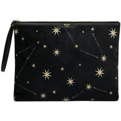 Wouf Cosmos Clutch Bag - Large (3.830 RUB) ❤ liked on Polyvore featuring bags, handbags, clutches, black, travel handbags, velvet clutches, party handbags, velvet handbag and party purses