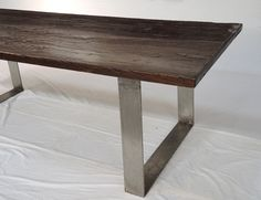 Solid reclaimed wood and metal large dining table by TerraNovaLA