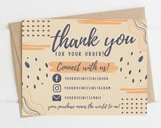 Printable Thank You Cards, Thank You Card Template, Card Templates, Business Thank You Cards, Small Business Cards, Thank You Card Design, Cute Packaging, Packaging Ideas, Thanks Card