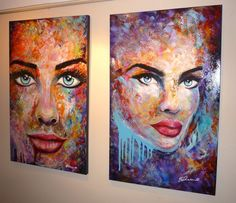 Each is 30 x 48 x 1.4 inch. Acrylic on Canvas. Femme Fatale #13 & #15 #streetartist #cool #portrait #originalpaintings #fineart #urban #LES #nyc #modern #abstract #lifestyle #homedecor #contemporary #colorful #sexy #women