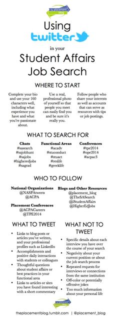 The Placement Blog: Using Twitter in your Student Affairs Job Search   Infographic by @placement_blog   theplacementblog.tumblr.com