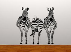 wall decal 3 zebras wall art sticker safari animal zoo bedroom wall living room dining room hall