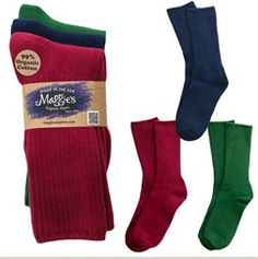Organic Cotton Crew Socks - Tri-pack Forest, Raspberry & Navy-