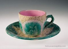 Griffen Smith & Hill, Etruscan Majolica Cauliflower Pattern Cup and Saucer. USA. 1880's