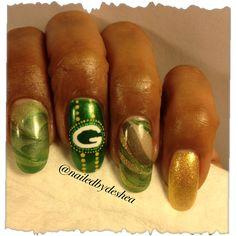 Green Bay Packers nailart handpainted nails