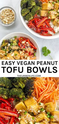 Peanut Tofu Bowls come together with a base of rice topped with baked tofu, crispy broccoli, strips of bell pepper, shredded carrots, and a drizzle of spicy homemade peanut butter sauce. Vegan, dairy free, plant based, quick, easy, simple, gluten free option Vegan Lunch Recipes, Tofu Recipes, Vegan Dinners, Dairy Free Recipes, Whole Food Recipes, Healthy Recipes, Delicious Recipes, Gluten Free, Easy Vegan Dinner