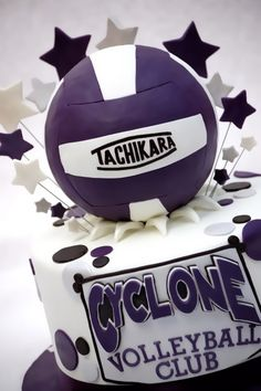 Volleyball Team Party three-layer WASC cake with one purple layer and cream cheese filling. The ball is fondant covered styrofoam. Volleyball Birthday Cakes, Volleyball Party, Volleyball Players, Volleyball Problems, 13 Birthday, Volleyball Gifts, Sports Birthday, Soccer Party, Birthday Board