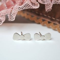 Dainty Bow Stud Earrings in Sterling Silver -  Sweet gift for Girls on Etsy, $67.94 AUD