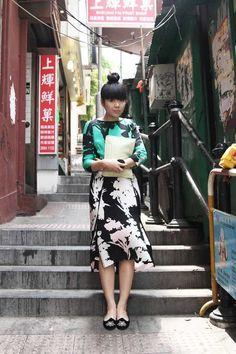 10c71f410336 Susie Bubble wearing Tibi s Silhouettes dress in Hong Kong
