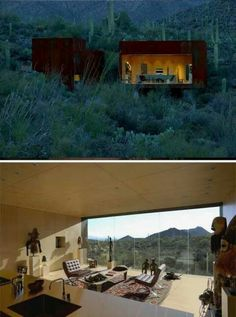 Beautiful home designed by Rick Joy nestled in the Tuscon mountains - made of rusted steel boxes