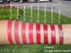 chanel rouge allure velvet lipstick - 32 la ravissante, 36 la caline, 34 la raffinee, 37 l'exuberante, 38 la fascinante, 39 la somptueuse, 40 la sensuelle, 41 l'exquise Berry Lipstick, Chanel Lipstick, Velvet Lipstick, Chanel Makeup, Lipstick Colors, Makeup To Buy, Kiss Makeup, Love Makeup, Lipstick Swatches