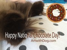 Fluffy Chocolate Paws for #NationalChocolateDay! And a Chocolate donut too. ArtwithDog.com #Chocolate #Cat #Kitten #paws #Cute #himalayan #Siamese #Chat #Chatte #mignon #Donut #Doughnut #Coco