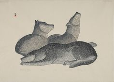 Family of Wolves  by Kananginak Pootoogook  1983   stonecut