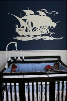 Nautical Pirate Nursery Idea: G-man's nursery is pretty much finished (and I have a totally semi-homemade nursery idea to finish the last big open wall - more on that below!) But I