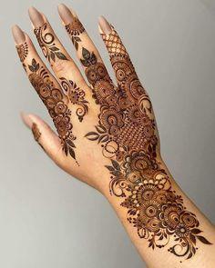 "For More Please Visit ""Mehndi Design by DressMatics"" Henna Flower Designs, Pretty Henna Designs, Modern Henna Designs, Finger Henna Designs, Henna Tattoo Designs Simple, Latest Bridal Mehndi Designs, Full Hand Mehndi Designs, Henna Art Designs, Mehndi Designs For Fingers"