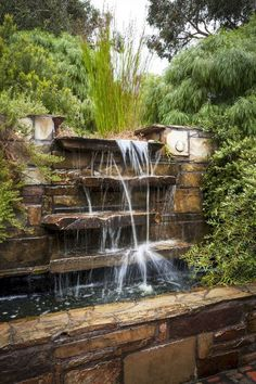 Different Types Of Pond Fountains Outdoor Waterfall Fountain In The Garden : Different Types Of Pond Outdoor Waterfall Fountain, Waterfall Landscaping, Garden Waterfall, Pond Landscaping, Waterfall Design, Indoor Waterfall, Wall Waterfall, Landscaping Melbourne, Waterfall Photo