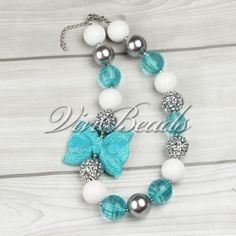 Blue-Bowknot-Candy-Beads-Chunky-Bubblegum-Gumball-Kids-Necklace-Jewelry-Gift