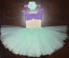 Crochet Mermaid Tulle Tutu Dress with Matching Hat Baby Costume Handmade Photo Prop $55