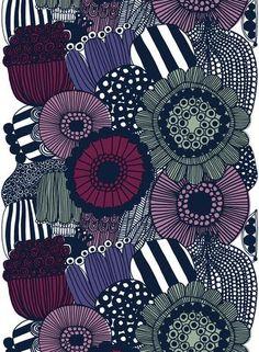 Siirtolapuutarha HW cotton fabric by Marimekko Painting Patterns, Fabric Patterns, Print Patterns, Marimekko Fabric, Modern Art Paintings, Ink Illustrations, Zentangle Patterns, Paper Beads, Wall Art Pictures
