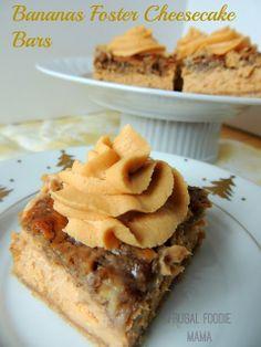 Bananas Foster Cheesecake Bars with Caramel Rum Frosting via thefrugalfoodiemama.com #PerfectPie #cheesecakebars #bananasfoster