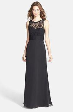New Jim Hjelm Occasions Illusion Lace Bodice Chiffon Dress Color Black Size  12. Jim Hjelm OccasionsWedding Bridesmaid ... 3ae3f6bb6137