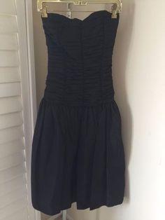 50s 60s era BLACK TAFFETA STRAPLESS PARTY DRESS prom formal GOTH GRUNGE sexy S/M…