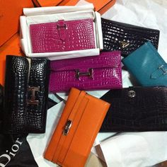 hermes wallets. #croc #leather #exoticleather