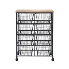 In your kitchen, the office, or just about anywhere, this rolling cart gives you storage with a cool, carefree vibe. Open wire baskets and a solid wood surface are perfect for adding a hardworking, rus...  Find the Otto Wire Storage Cart, as seen in the An Industrial Rustic House Tour Collection at http://dotandbo.com/collections/an-industrial-rustic-house-tour?utm_source=pinterest&utm_medium=organic&db_sku=92192