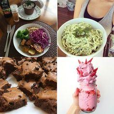 A dieta vegana de Yasmin Brunet: almoço com vegetais e quinoa; prato de macarrão feito com abobrinha e molho de tofu; sorvete feito apenas com frutas; e brownie de batata-doce