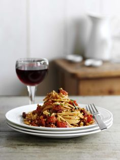 Spaghetti with chorizo and rosemary pangritata: Pasta and chorizo… two easy ingredients, one quick midweek meal for two. Make a quick salsa sauce with shallots and fresh tomatoes and dinner is ready in 20 minutes.