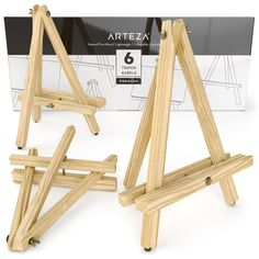 ARTEZA Tripod Easel, Pack of Natural Pine Wood Finish with Non-Slip Legs, Ideal for Displaying Small to Medium Canvases Check out this great product. (This is an affiliate link) Display Easel, Wood Display, Non Slip Paint, Natural Wood Finish, Wood Construction, Wood Grain, Counter Space, Exhibit, Change