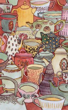 unoffensive and nice watercolors once. I shouldnt give que to go again. Sometimes it's good to just create beautiful things. So precious! Tea Illustration, Cuppa Tea, Teapots And Cups, My Cup Of Tea, Coffee Art, Drinking Tea, Afternoon Tea, Tea Set, Alice In Wonderland