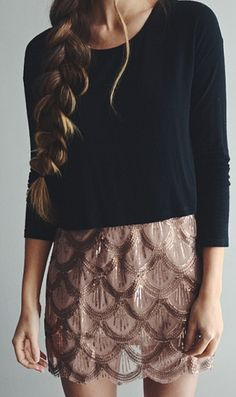 Scalloped skirt-I like the color the scalloping and the shine. Not crazy about the top