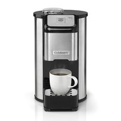 Cuisinart Grind and Brew One Cup Filter Coffee Machine, quick, convenient fresh coffee from either freshly ground beans or pre-ground coffee to your exact taste straight into your favourite mug or travel cup.  Easy to use and customisable, select your preferred grind (coarse to fine) and add water.   Fresh coffee every cup. To obtain the freshest cup of coffee, it is essential to grind the coffee beans just before brewing , therefore none of the essential oils are lost from the coffee…