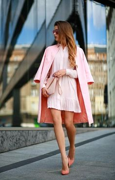 25 Shirtdress Outfit Ideas for Spring - a pastel pink shirtdress with pleated hem, worn with a matching coat and zip clutch | StyleCaster